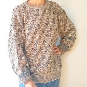 Vintage • oversized diamond knit grandpa Sweater
